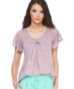 Bluza roz din jerse cu maneca scurta CV165 - Tricouri -