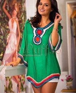 Bluza verde de vara cu broderie colorata - BLUZE -