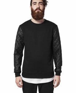 Bluze cu maneci piele ecologica - Bluze cu guler rotund - Urban Classics>Barbati>Bluze cu guler rotund