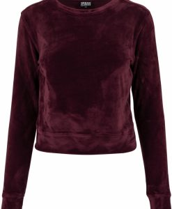 Bluze scurte tip catifea cu maneca lunga pentru Femei rosu burgundy Urban Classics - Bluze urban - Urban Classics>Femei>Bluze urban