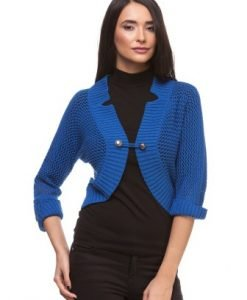 Bolero albastru din tricot cu perforatii 11740 - Bolero -
