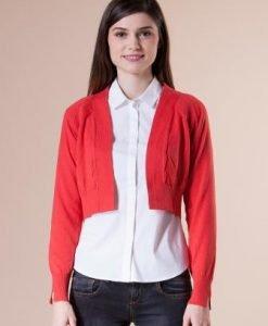 Bolero rosu scurt din tricot 15003 - Bolero -
