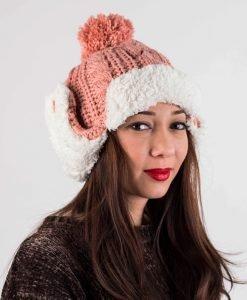 Caciula tricotata TJ036 roz - Aксесоари - Aксесоари Дамски