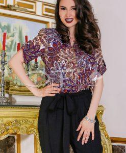 Camasa Dyana Bleumarin Cu Rosu - Haine - Bluze/Camasi