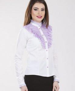 Camasa alb cu mov din bumbac 2086 - Camasi -