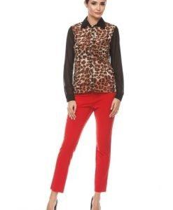Camasa casual cu imprimeu leopard din voal A424-N negru-maro - Camasi -