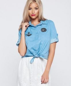 Camasa dama casual cu maneca scurta albastra cu guler ascutit - Camasi -