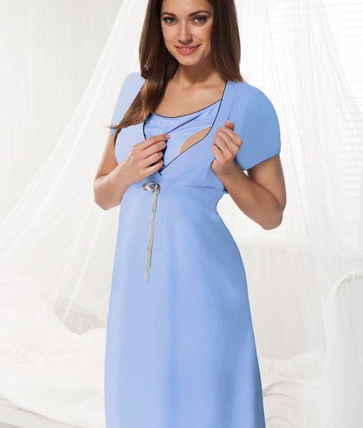 Camasa de noapte alaptare Dorota albastru – Lenjerie pentru femei – Lenjerie pentru gravide si mamici