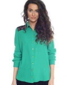 Camasa verde cu dantela AM-20205 - Outlet -