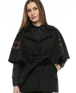 Capa neagra din lana cu broderie rosie CA05B - Jachete -