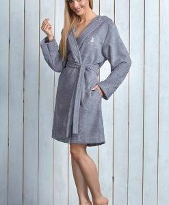 Capot dama Alba Grey din fibre de bambus - Lenjerie pentru femei - Capoate