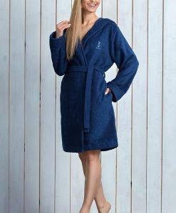 Capot dama Alba Navy din fibre de bambus - Lenjerie pentru femei - Capoate
