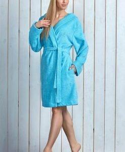 Capot dama Alba Turqoise cu fibre de bambus - Lenjerie pentru femei - Capoate