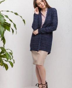 Cardigan bleumarin din tricot 15541 - Cardigane -