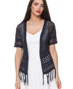 Cardigan bleumarin din tricot cu franjuri 1503A - Cardigane -