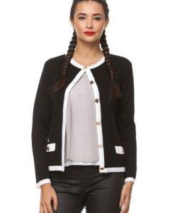 Cardigan clasic cu nasturi metalici din tricot 1F.454 negru/alb - Cardigane -