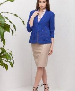 Cardigan cu model in relief din tricot 14707 albastru - Cardigane -