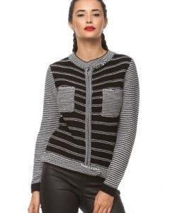 Cardigan din tricot cu fermoar 14710 negru - Cardigane -