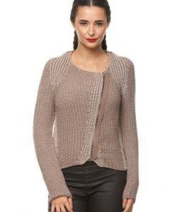 Cardigan din tricot cu fermoar asimetric 14780 bej/ maro - Cardigane -