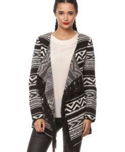 Cardigan din tricot cu franjuri 14779 alb/negru - Cardigane -