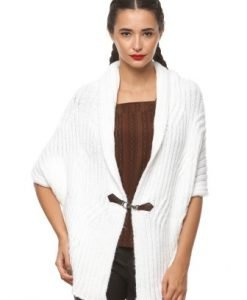 Cardigan larg din tricot 4720 alb - Cardigane -