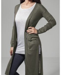 Cardigan lung Fine tricot pentru Femei oliv Urban Classics - Pulovere si cardigane - Urban Classics>Femei>Pulovere si cardigane