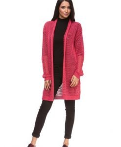 Cardigan lung ciclam din tricot 15116 - Cardigane -