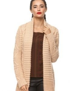 Cardigan lung din lana 8942 bej - Outlet -