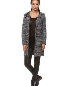 Cardigan lung in dungi din tricot IF.453 gri/negru - Cardigane -