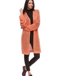 Cardigan lung orange din tricot 15116 - Cardigane -