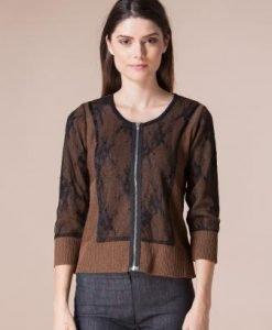 Cardigan maro din tricot 4244 - Cardigane -