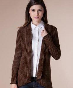 Cardigan maro din tricot 4634 - Cardigane -