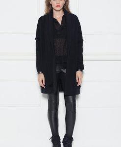 Cardigan negru cu insertii din piele Negru - Imbracaminte - Imbracaminte / Jachete si cardigane / Cardigane