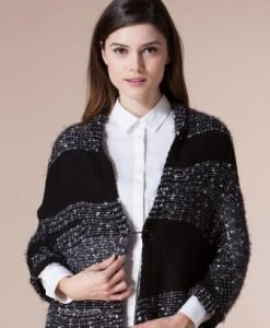 Cardigan negru din tricot 4502 - Cardigane -