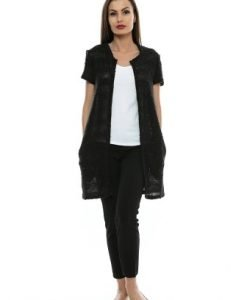 Cardigan negru din tricot cu maneca scurta JK11 - Cardigane -