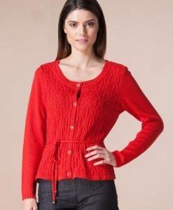 Cardigan rosu din tricot 12298 - Cardigane -