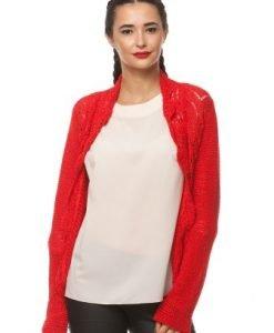 Cardigan rosu din tricot 14645 - Cardigane -