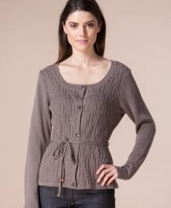 Cardigan taupe din tricot 12298 - Cardigane -