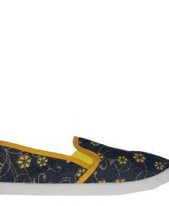 Espadrile dama Yamada albastre cu galben - Incaltaminte Dama - Espadrile Dama