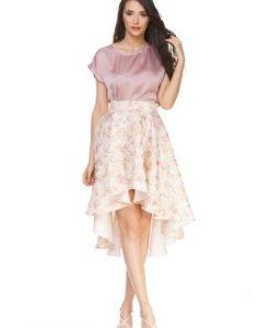 Fusta bej asimetrica cu imprimeu floral roz D2308 - Fuste -