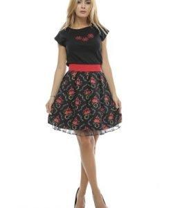 Fusta clos cu imprimeu floral FS45 negru/rosu - Fuste -