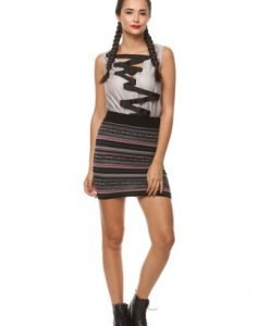 Fusta cu imprimeuri geometrice din tricot 4378 negru - Fuste -