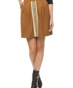 Fusta cu model traditional din bumbac 4044 khaki - Fuste -