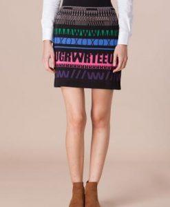 Fusta din tricot cu imprimeuri geometrice 12801 - Fuste -