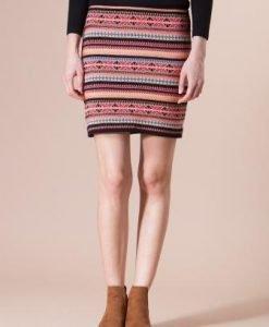 Fusta din tricot cu imprimeuri geometrice roz 4378 - Fuste -