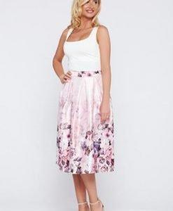 Fusta eleganta in clos rosa cu imprimeu floral - Fuste -