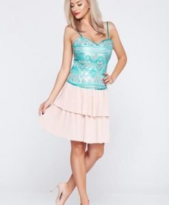 Fusta eleganta scurta PrettyGirl rosa cu pliuri de material - Fuste -