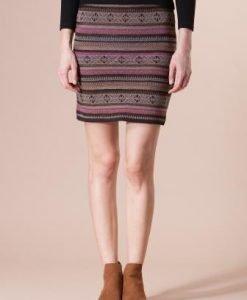 Fusta maro din tricot cu imprimeuri geometrice 4378 - Fuste -