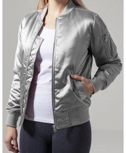 Geaca bomber aspect satin femei argintiu Urban Classics - Geci bomber - Urban Classics>Femei>Geci bomber