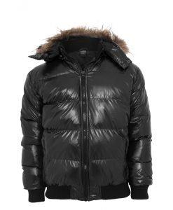 Geaca cu gluga Bubble Fur negru Urban Classics - Lichidare - Urban Classics>Lichidare